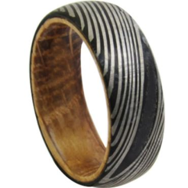 *COI Black Tungsten Carbide Damascus Dome Court Ring With Wood-6863