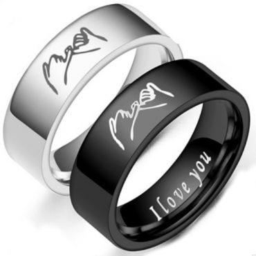 *COI Tungsten Carbide Black/Silver I Promise I Love You Pipe Cut Flat Ring-TG6872