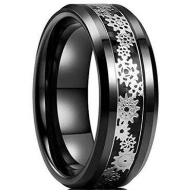 **COI Black Tungsten Carbide Gears Beveled Edges Ring-6951CC