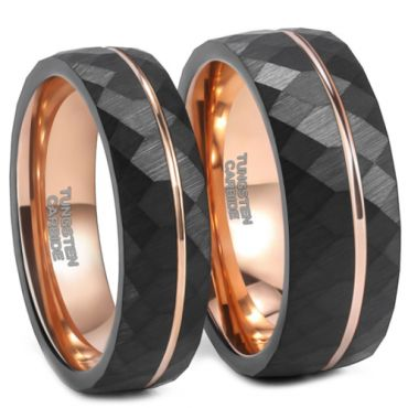 **COI Tungsten Carbide Black Rose Faceted Offset Grooves Ring-6953CC