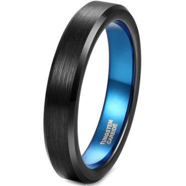 **COI Tungsten Carbide Black Blue Beveled Edges Ring-6954CC