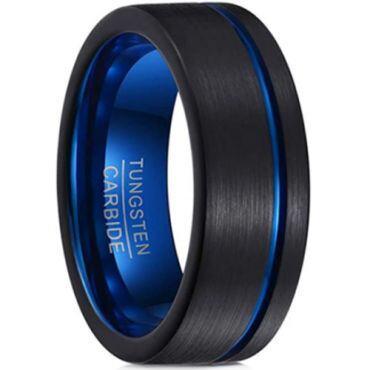 **COI Tungsten Carbide Black Blue Offset Groove Pipe Cut Flat Ring-TG6958CC