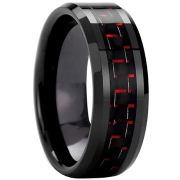 COI Black Tungsten Carbide Ring With Black Red Carbon Fiber-3693