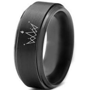 COI Black Tungsten Carbide King Crown Step Edges Ring-891