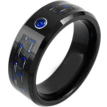 *COI Tungsten Carbide Ring With Carbon Fiber & Zirconia-TG3748