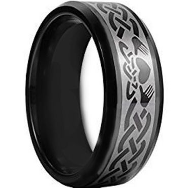 COI Black Tungsten Carbide Mo Anam Cara Celtic Ring-TG956AA