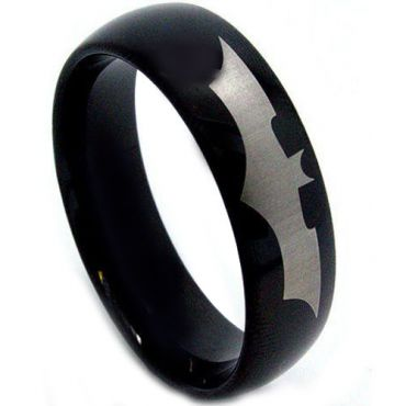 *COI Black Tungsten Carbide Batman Dome Court Ring-TG2819