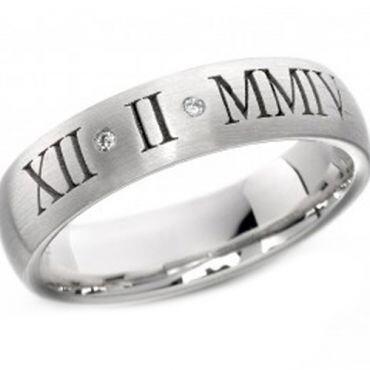 COI Tungsten Carbide Diamond Custom Roman Numerals Ring-2181