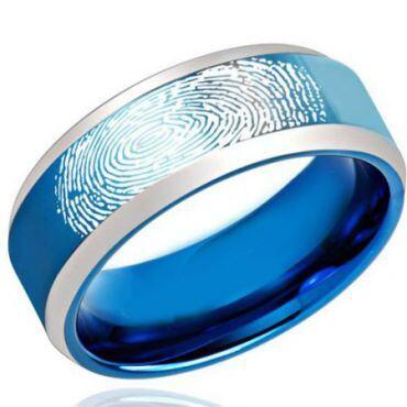 COI Tungsten Carbide Custom Finger Print Beveled Edges Ring-2187