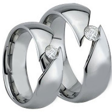 *COI Tungsten Carbide Solitaire Ring With Cubic Zirconia-TG882