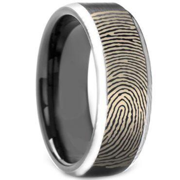 COI Tungsten Carbide Custom FingerPrint Beveled Edges Ring-3972