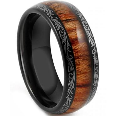 COI Tungsten Carbide Wood Damascus Dome Court Ring - TG4198