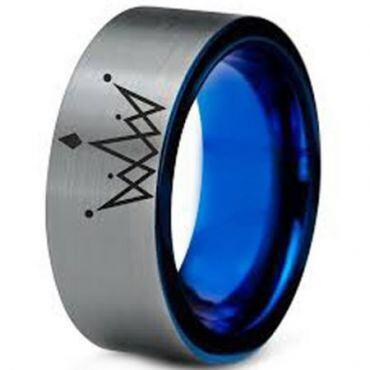 COI Tungsten Carbide King Crown Pipe Cut Flat Ring-3199