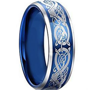 *COI Blue Tungsten Carbide Dragon Beveled Edges Ring-TG4603