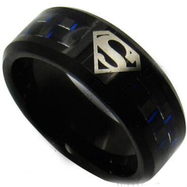 *COI Tungsten Carbide Superman Ring With Carbon Fiber-TG873