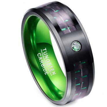 *COI Tungsten Carbide Black Green Carbon Fiber Ring-TG2165