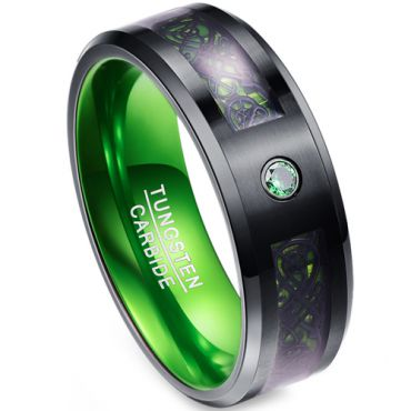 *COI Tungsten Carbide Black Green Dragon Zirconia Ring-TG4017