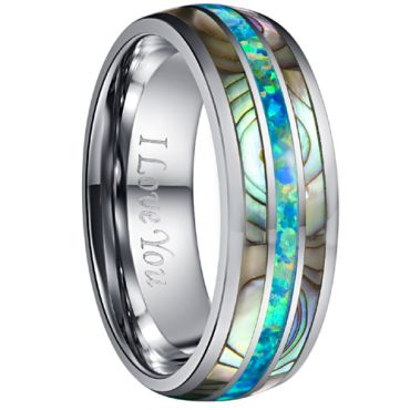 COI Tungsten Carbide Crushed Opal & Abalone Shell Dome Court Ring-TG4737