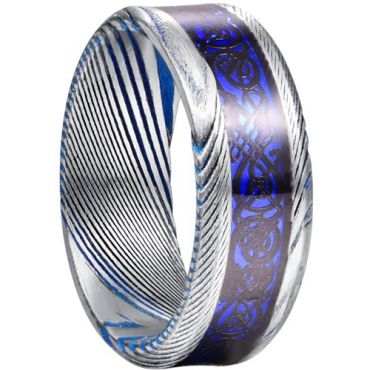 COI Tungsten Carbide Blue Silver Dragon Damascus Beveled Edges Ring-5827