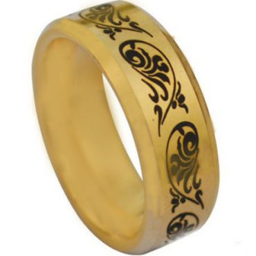*COI Gold Tone Tungsten Carbide Tribal Pattern Ring-TG1077A