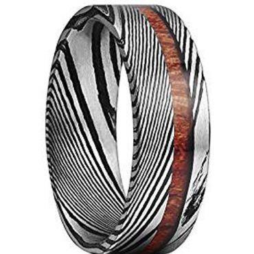 COI Tungsten Carbide Damascus Offset Wood Ring-TG1087A