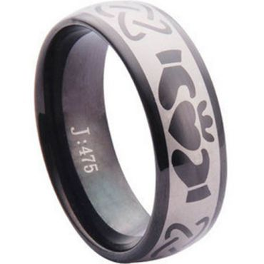 COI Black Tungsten Carbide Mo Anam Cara Celtic Ring-TG1101