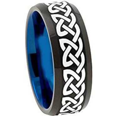 COI Tungsten Carbide Black Blue Celtic Dome Court Ring-TG1153AA