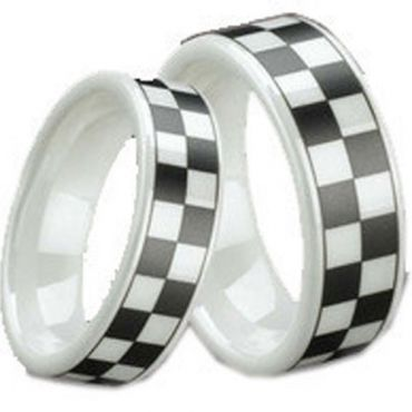 COI White Ceramic Checkered Flag Pipe Cut Flat Ring-TG1296