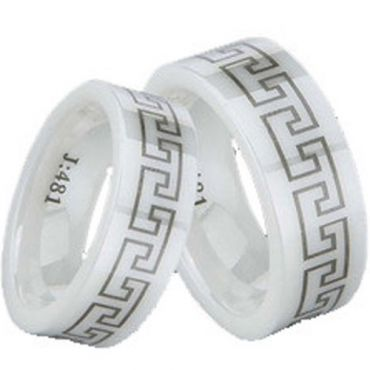COI White Ceramic Greek Key Pipe Cut Flat Ring-TG1300