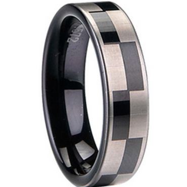 COI Black Tungsten Carbide Checkered Flag Pipe Cut Ring-TG1413