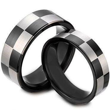*COI Tungsten Carbide Checkered Flag Pipe Cut Flat Ring-TG1418AA