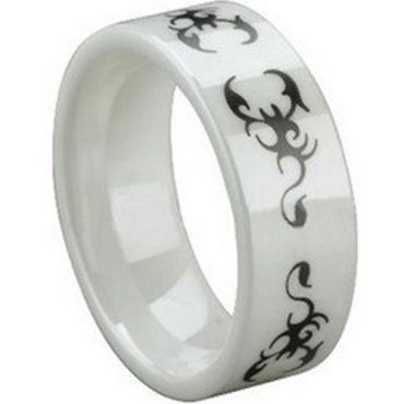 COI White Ceramic Scorpion Pipe Cut Flat Ring-TG1473
