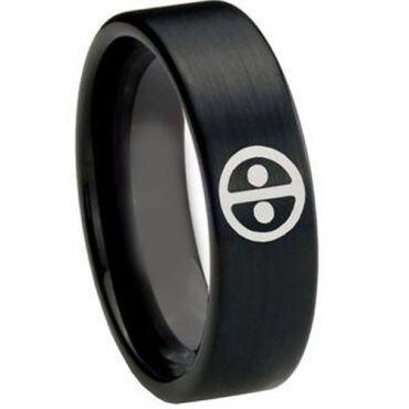 COI Black Tungsten Carbide DeadPool Pipe Cut Flat Ring-TG148A