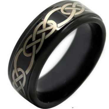 COI Black Tungsten Carbide Celtic Step Edges Ring - TG1503AA