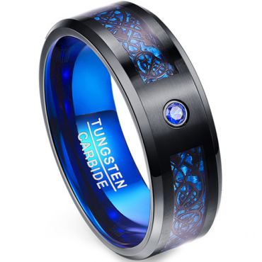*COI Tungsten Carbide Black Blue Dragon Zirconia Ring-TG1566