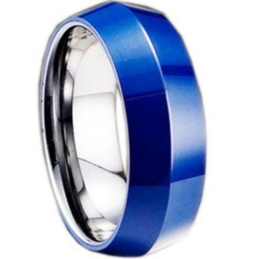 COI Tungsten Carbide Ring With Blue Ceramic - TG1635(Size:US9)