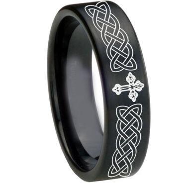 COI Black Tungsten Carbide Cross Celtic Pipe Cut Flat Ring-1661