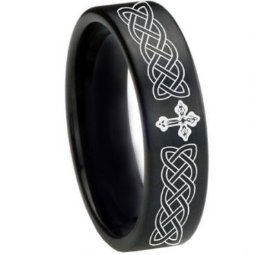 *COI Black Tungsten Carbide Cross Celtic Pipe Cut Flat Ring-1661