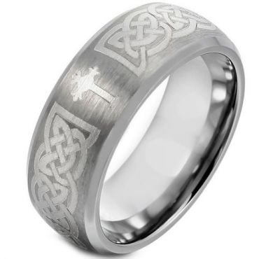 *COI Tungsten Carbide Cross Celtic Beveled Edges Ring-TG1664BB