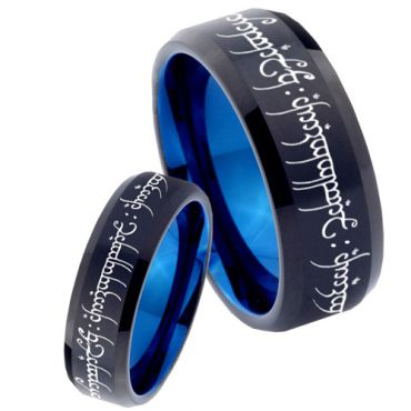COI Tungsten Carbide Black Blue Beveled Edges Lord of The Ring - TG1711