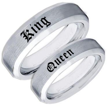 *COI Tungsten Carbide King Queen Beveled Edges Ring-TG1755CC