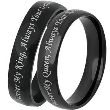 *COI Black Tungsten Carbide King Queen Dome Court Ring-TG1756C