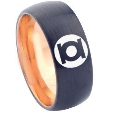 COI Tungsten Carbide Black Rose Green Lantern Ring - TG1806CC