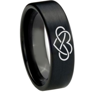 *COI Black Tungsten Carbide Infinity Heart Pipe Cut Ring-TG1821AA