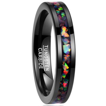 COI Black Tungsten Carbide Crushed Opal Pipe Cut Flat Ring-TG1823BB