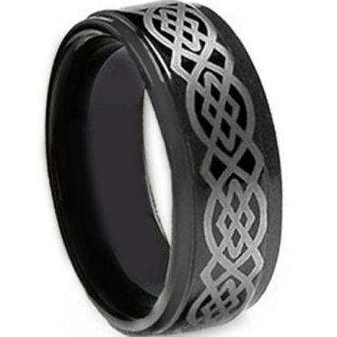 *COI Black Tungsten Carbide Celtic Step Edges Ring-TG1830