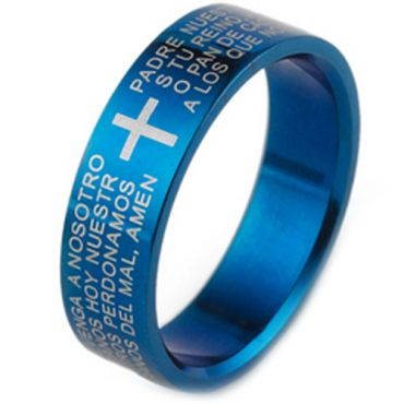 COI Blue Tungsten Carbide Cross Scripture Ring-TG1866