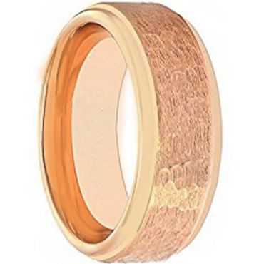 COI Rose Tungsten Carbide Hammered Step Edges Ring - TG1877AA
