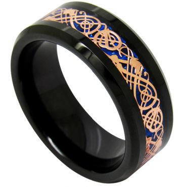 COI Black Rose Tungsten Carbide Dragon Beveled Edges Ring-TG1896
