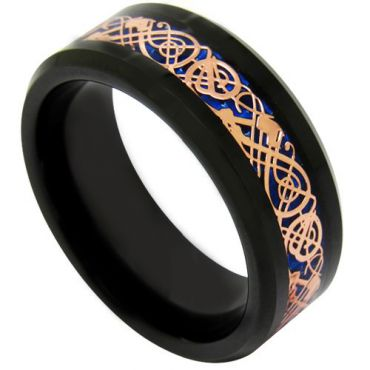 COI Black Rose Tungsten Carbide Dragon Beveled Edges Ring-TG1896